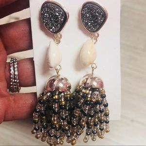 Bohemian Rockstar Gray druzy shell Tassel earrings